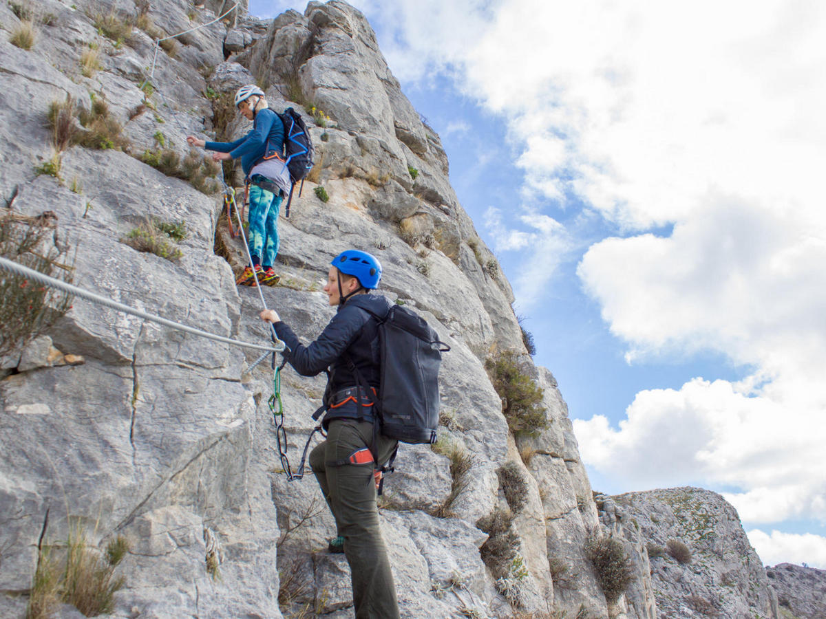 Climbing Via Ferrata Split on Perun hill